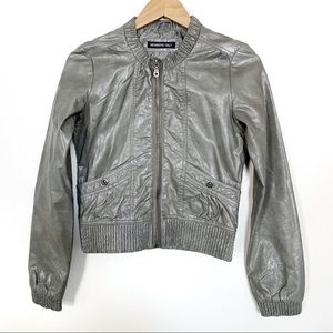 Members Only Faux Leather Bomber Jacket Women
